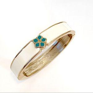 Jewelry - Blue Plumeria Aloha Enameled Hinge Bangle